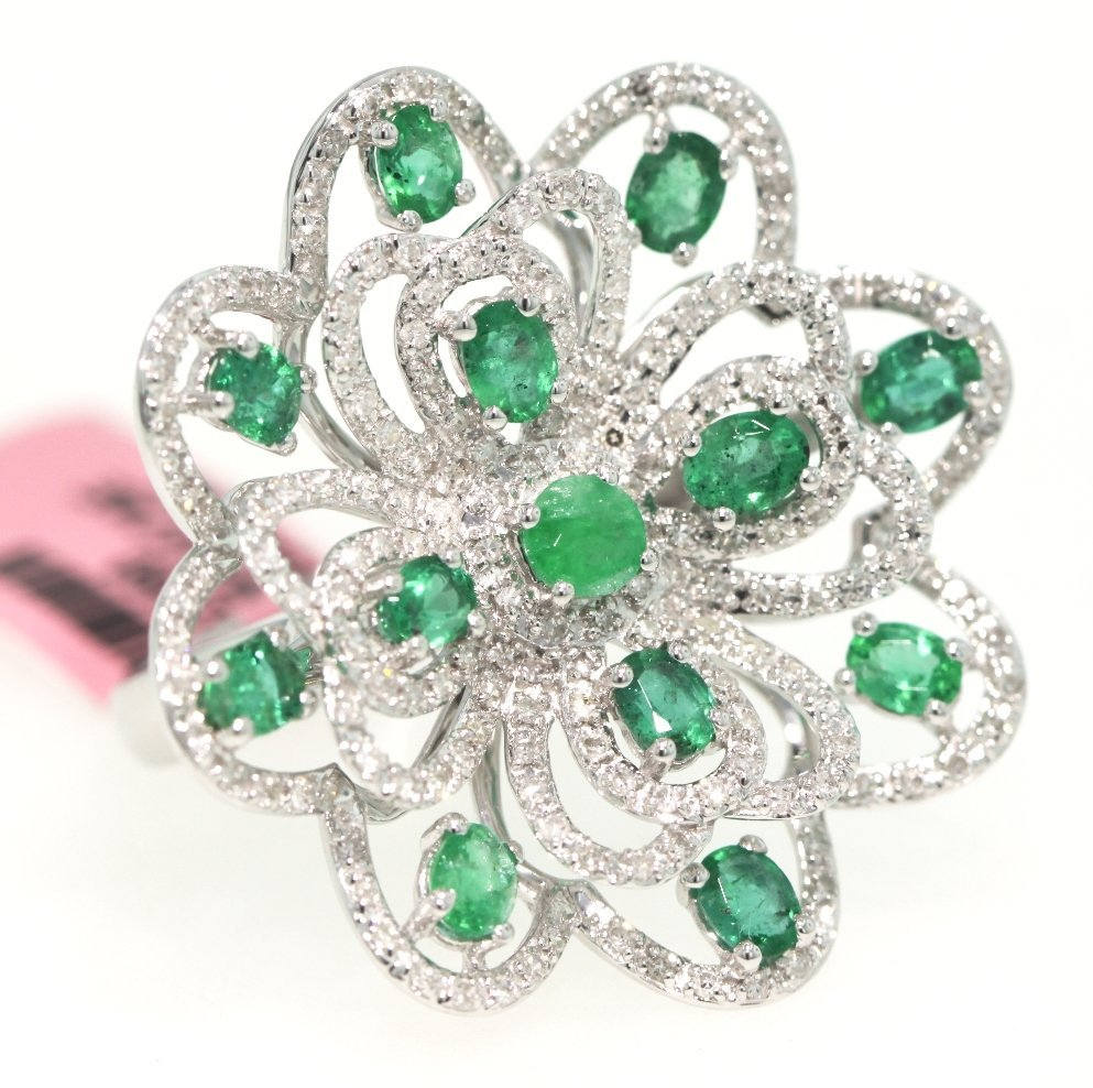 14KT White Gold 2.3ct Emerald and Diamond Flower Cockta
