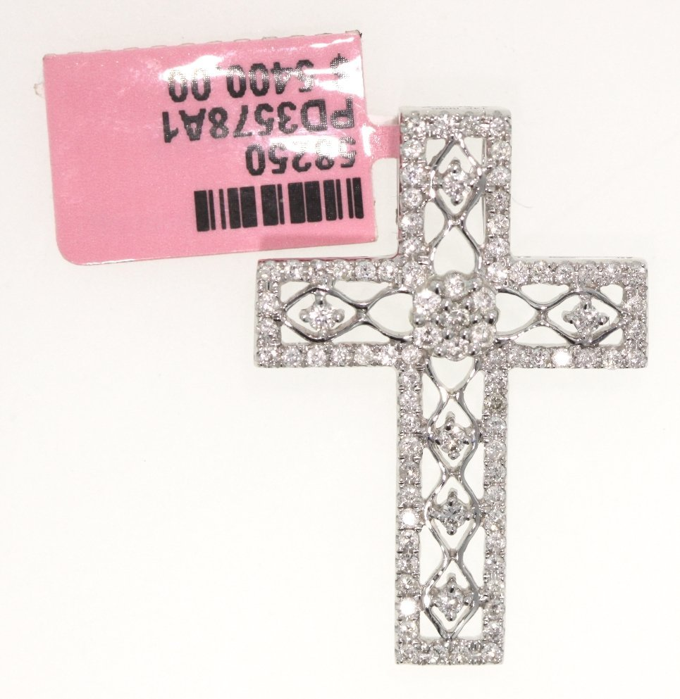 14KT White Gold .8ct Diamond Cross Pendant FJM994