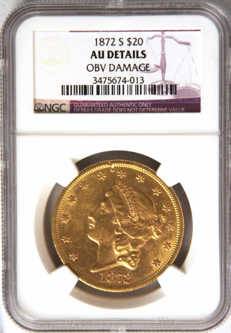 1872-S NGC AU $20 Liberty Double Eagle Gold Coin JohnGC