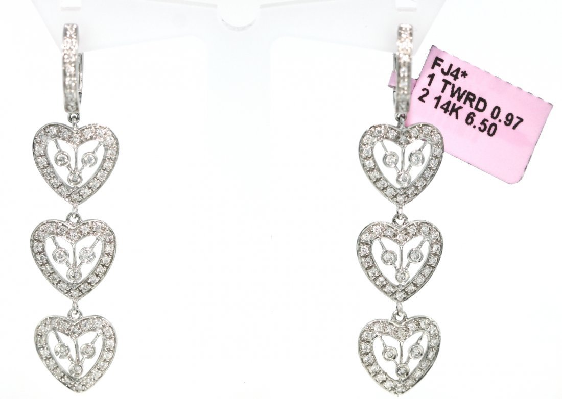 14KT White Gold .97ct Diamond Heart Trio Drop Earrings