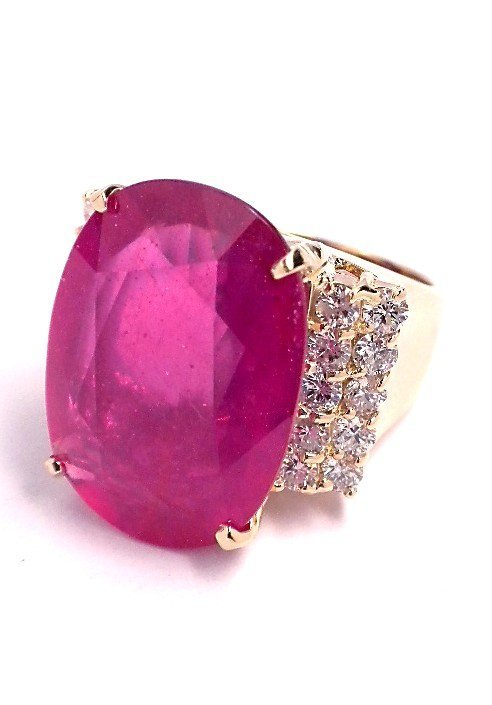 14KT Yellow Gold 16.86ct Ruby and Diamond Ring BD345