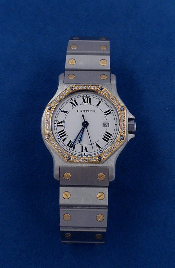 Ladies Cartier Two Tone Santos Automatique Watch GB38