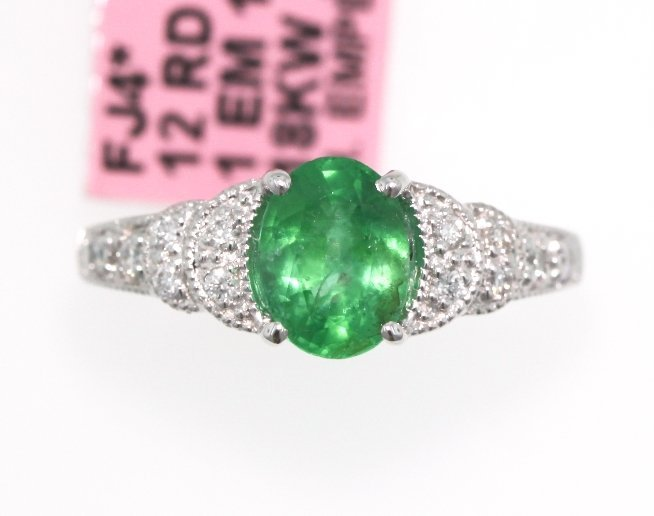 18KT White Gold 1.07ct Emerald and Diamond Ring FJM1397