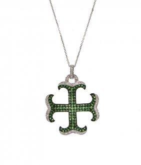 14KT White Gold 1.63ct Green Sapphire & Diamond Pendant