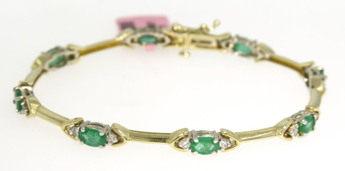 14KT Yellow Gold 3.12ct Emerald and Diamond Bracelet FJ