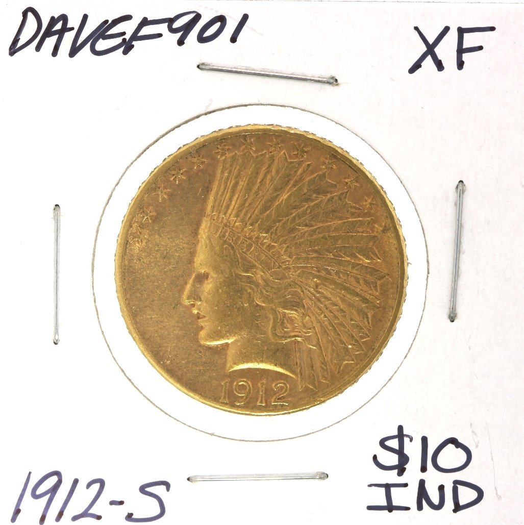 1912-S $10 XF Indian Head Eagle Gold Coin DAVEF901