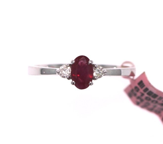 14KT White Gold 0.63ct Ruby & Diamond Ring FJM1749