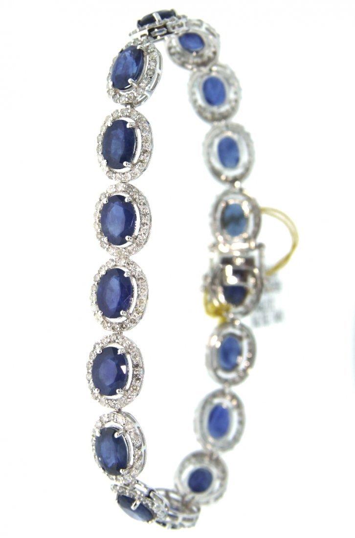 14KT White Gold 16.05ct Sapphire and Diamond Bracelet R