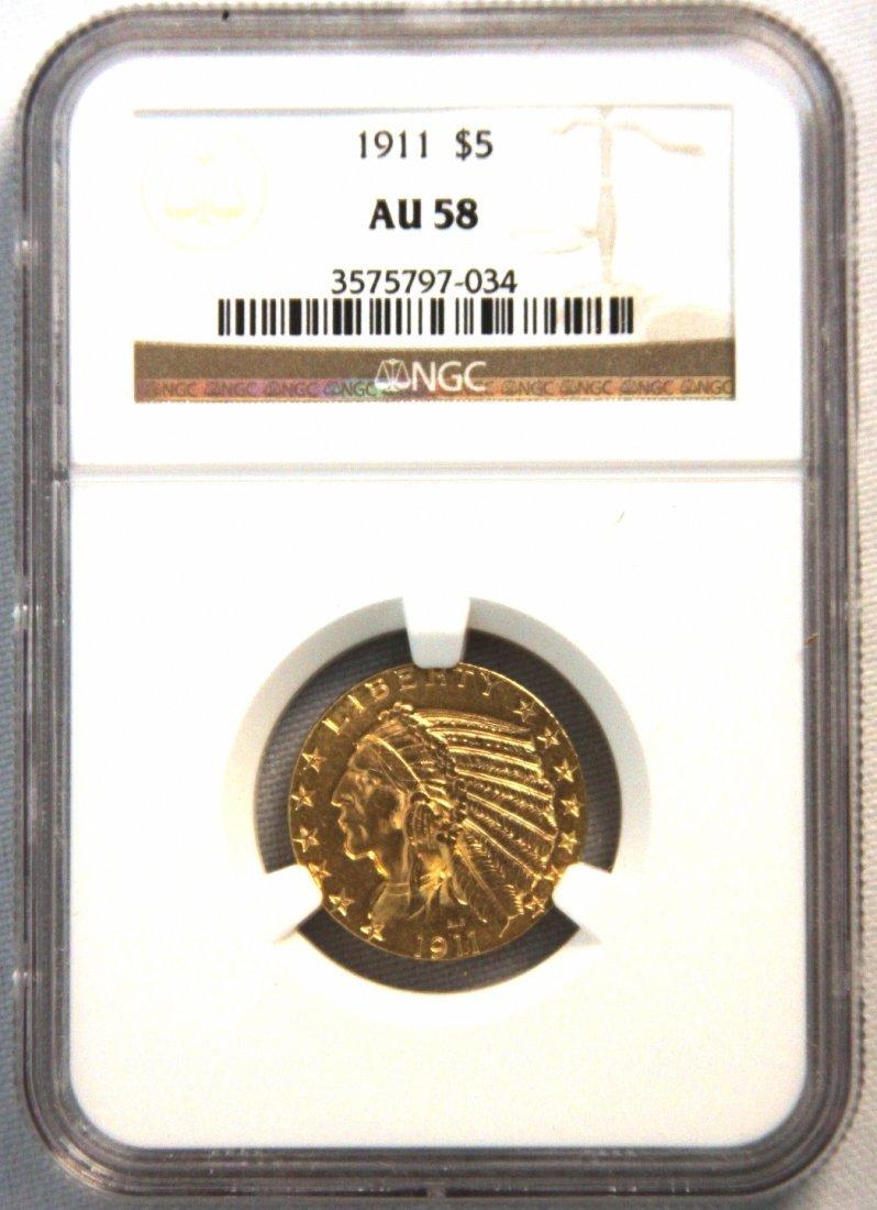 1911 $5 NGC AU58 Indian Head Half Eagle Gold Coin DAVEF
