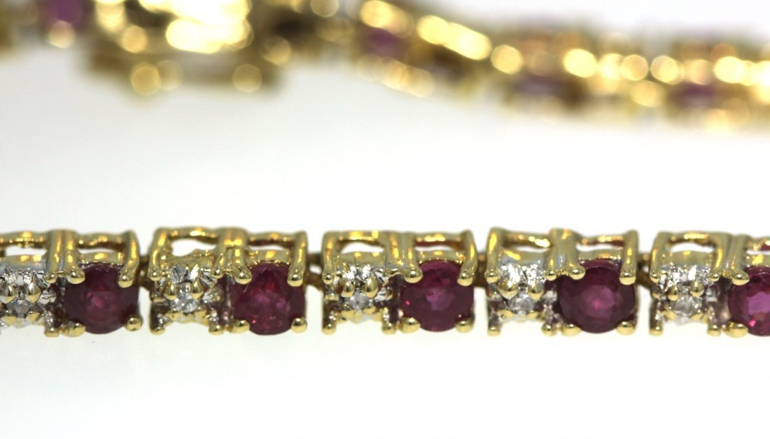 14KT Yellow Gold 3.16ct Ruby & Diamond Bracelet STN1 - 2