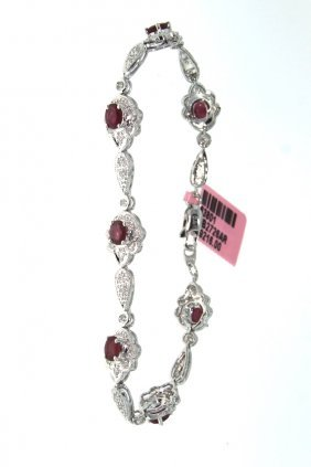 14KT White Gold 3.29ct Ruby & Diamond Bracelet FJM1360