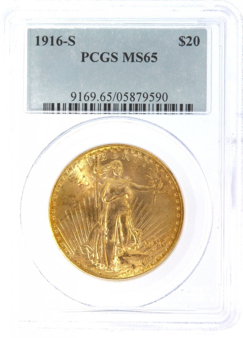 1916-S $20 PCGS MS65 Saint Gaudens Double Eagle Gold Co