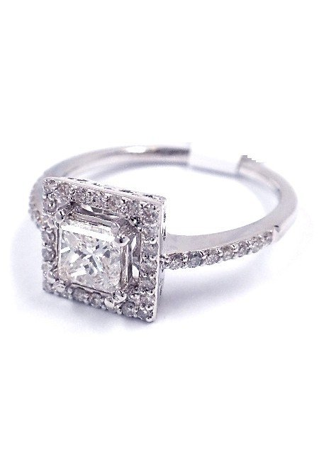14KT White Gold 0.95ct Diamond Ring A3802
