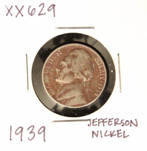 1939 Jefferson Nickel XX629