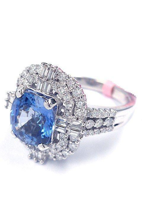18KT White Gold 3.37ct Sapphire & Diamond Ring FJM1432