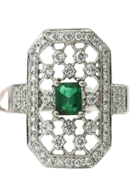 18KT White Gold Emerald and Diamond Ring FJM1488
