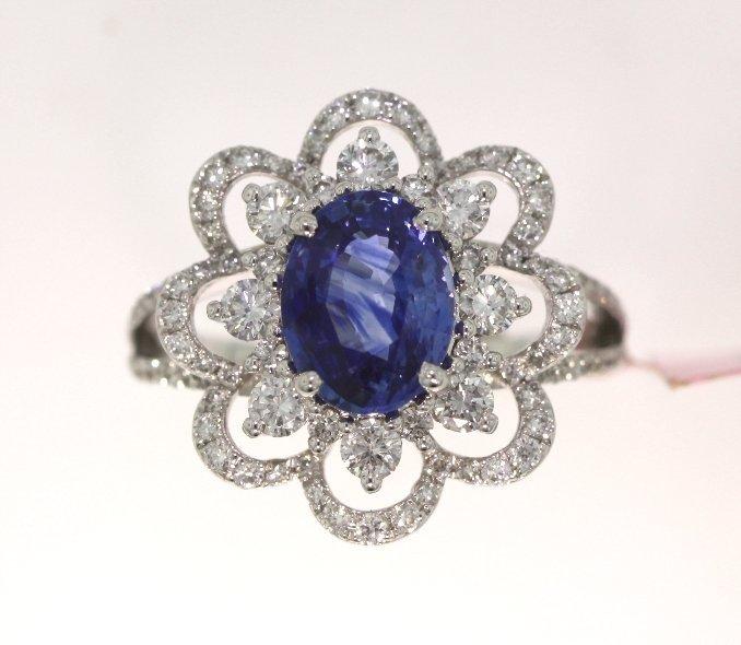 18KT White Gold 2.00ct Sapphire & Diamond Ring FJM1539