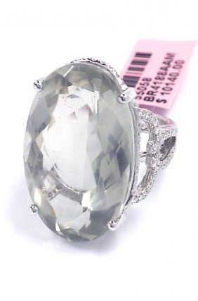 14KT White Gold 31.76ct Quartz & Diamond Ring FJM1621