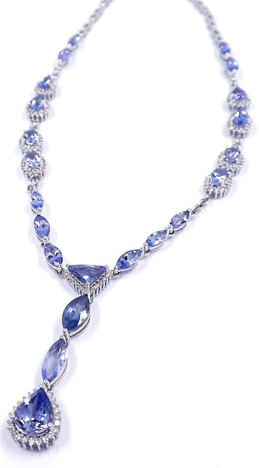 14KT White Gold 13.23ct Tanzanite & Diamond Necklace FJ