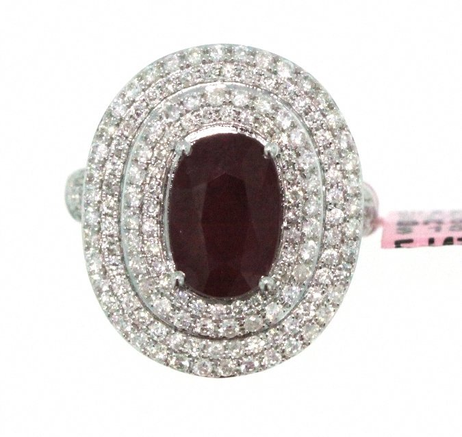 18KT White Gold 4.01ct Ruby & Diamond Ring FJM1729