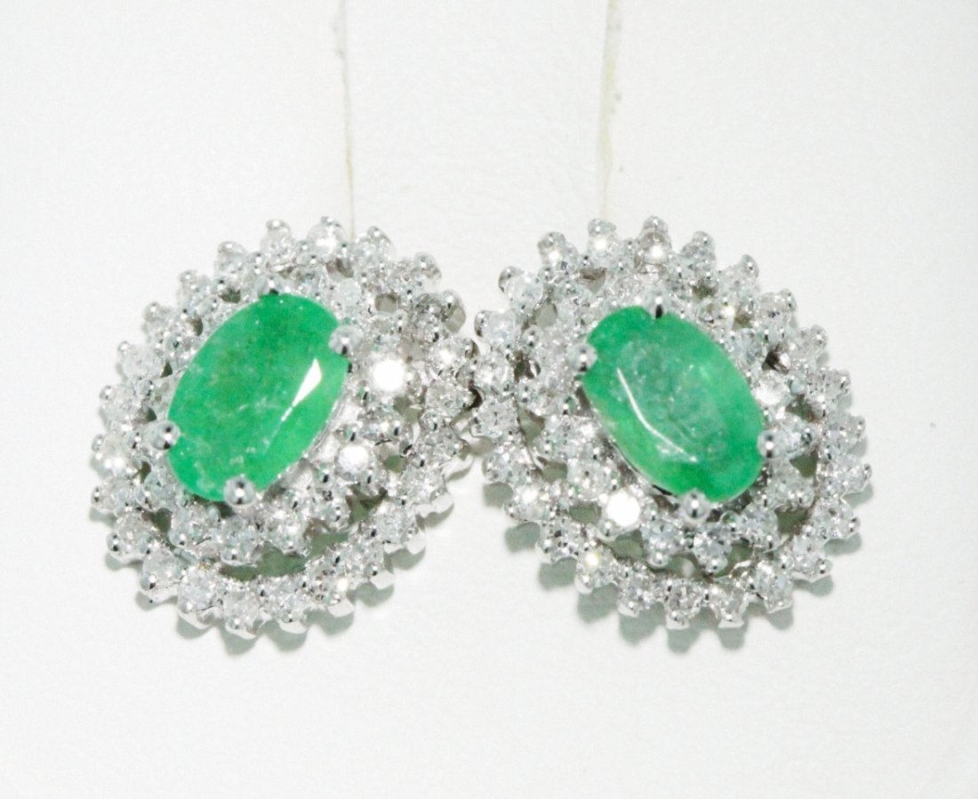 14KT White Gold 0.98ct Emerald Earrings FJM1284