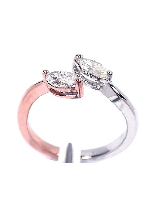14KT White & Rose Gold Ladies .50ctw Diamond Ring J67