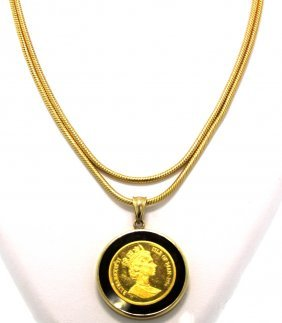 1994 Elizabeth Isle Of Man 14KT Yellow Gold Coin Neckla