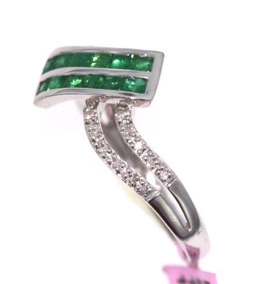 14KT White Gold 0.52ct Emerald & Diamond Ring FJM1744 - 2