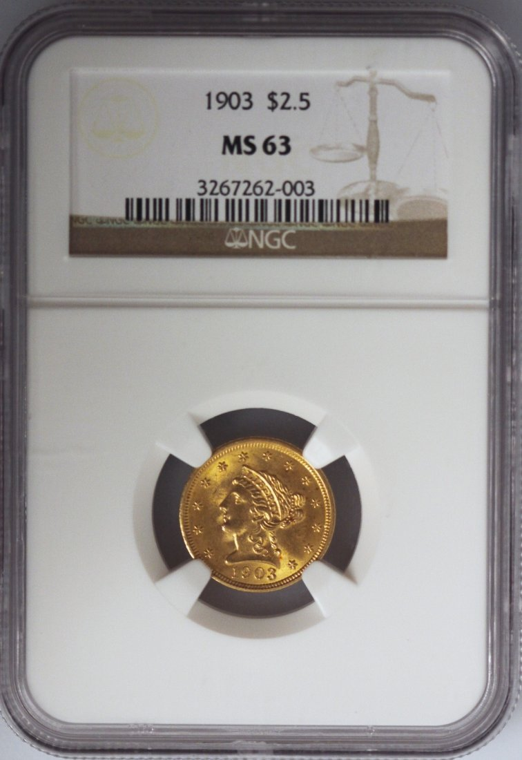 1903 $2 1/2 NGC MS63 Liberty Head Quarter Eagle Gold Co