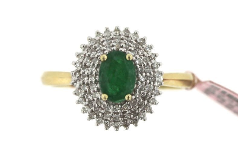 14KT Yellow Gold Emerald and Diamond Ring FJM1492