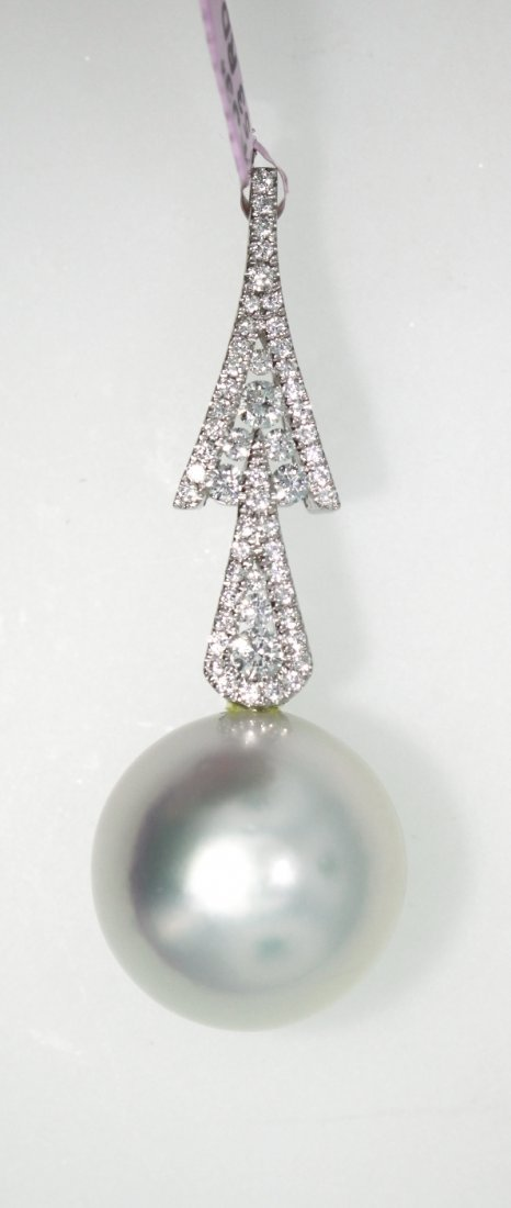 18KT White Gold 15.00mm Pearl & Diamond Pendant FJM1341
