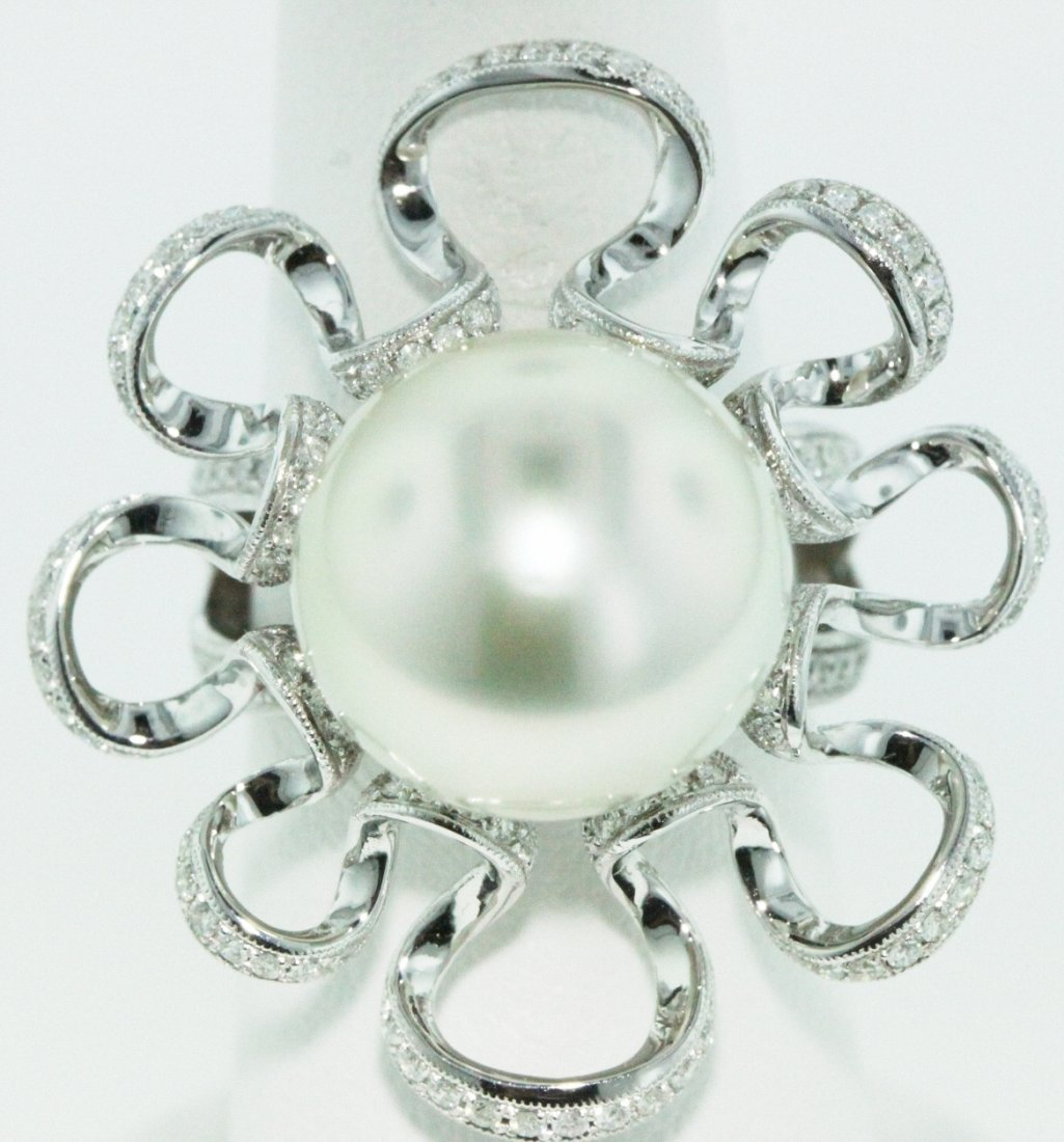 18KT White Gold 14.00mm Pearl Ring FJM1259