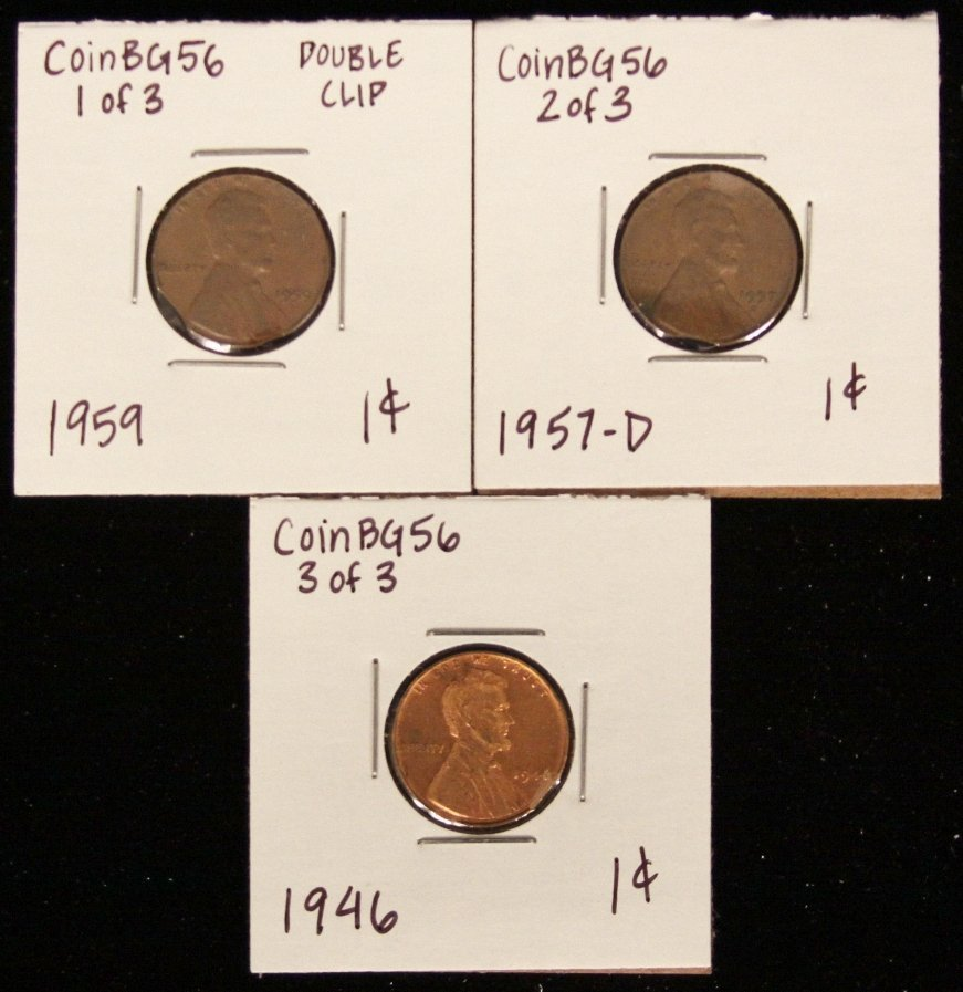 Lot of 3 RARE Penny Clipped Planchet Coins CoinBG56