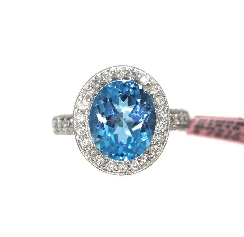 14KT White Gold 6.00tcw Blue Topaz & Diamond Ring FJM16