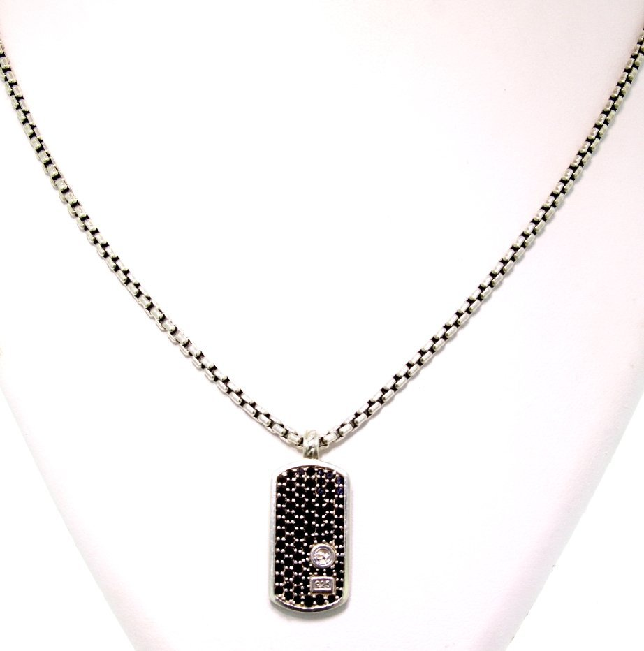 David Yurman 0.75ct Black Diamond Dog Tag on Chain GD40