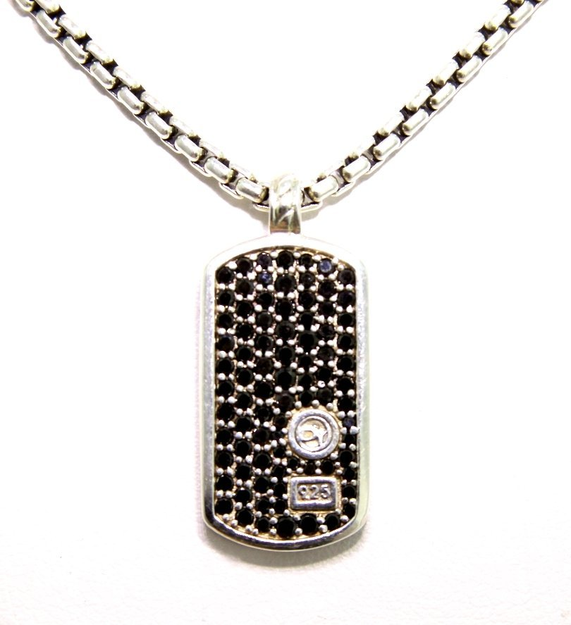David Yurman 0.75ct Black Diamond Dog Tag on Chain GD40 - 2