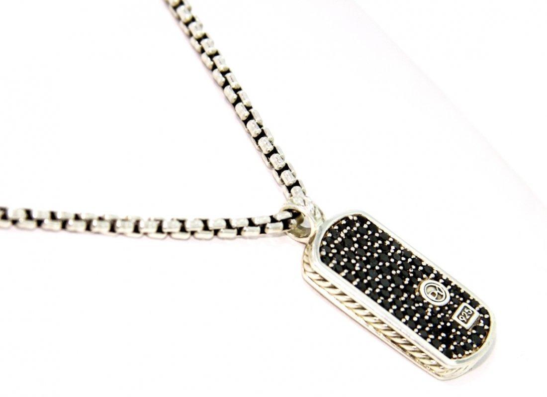 David Yurman 0.75ct Black Diamond Dog Tag on Chain GD40 - 3