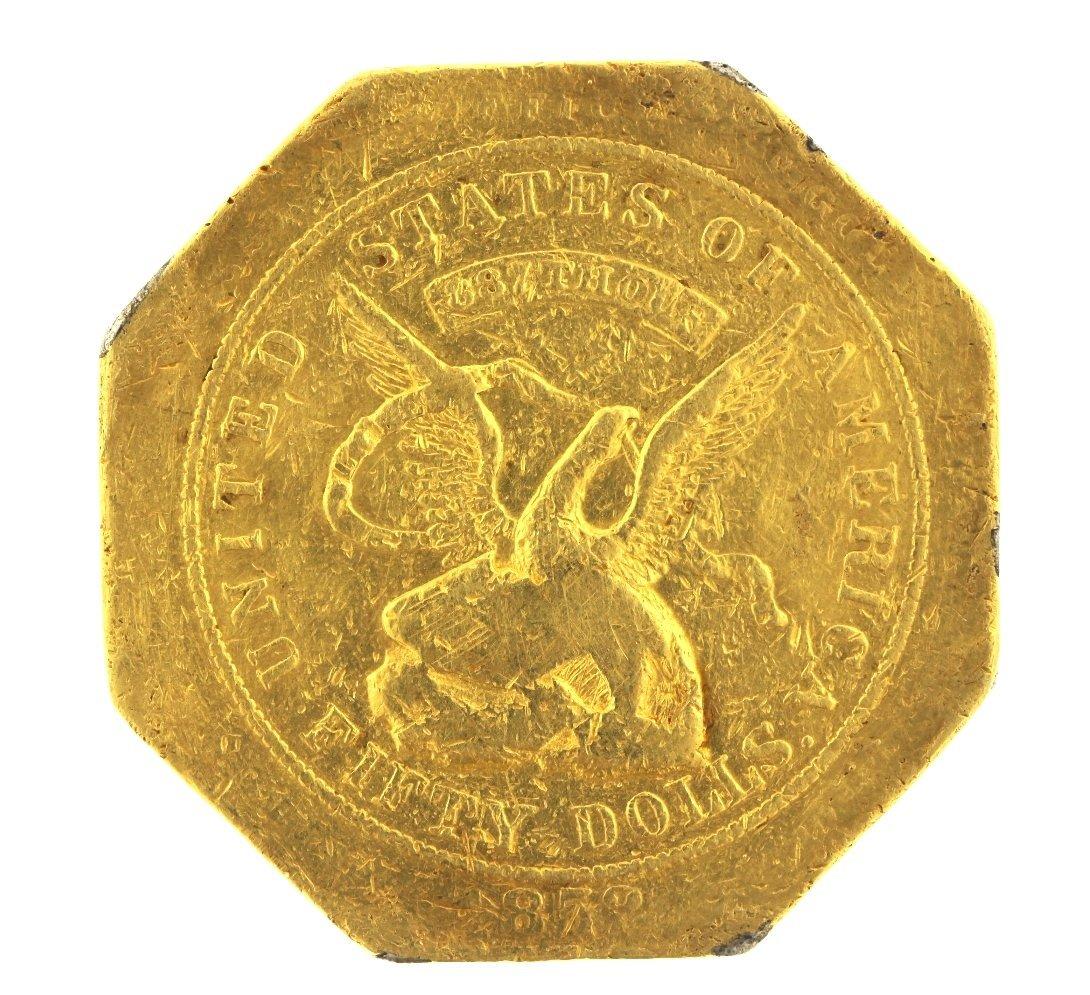 "Rare 1852 $50 XF Humbert ""887 Thous"" ""Slug"" Gold Coin J"