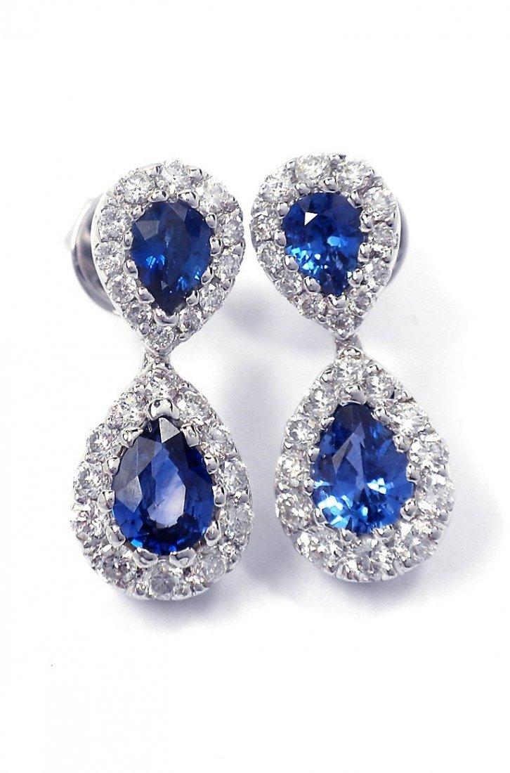 18KT White Gold 1.40ct Sapphire & Diamond Dangle Earrin