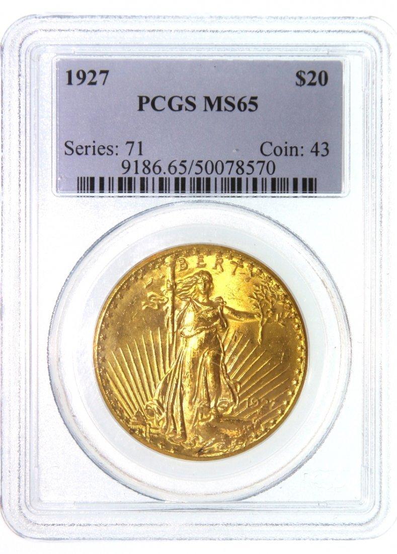 1927 $20 PCGS MS65 Saint Gaudens Double Eagle Gold Coin