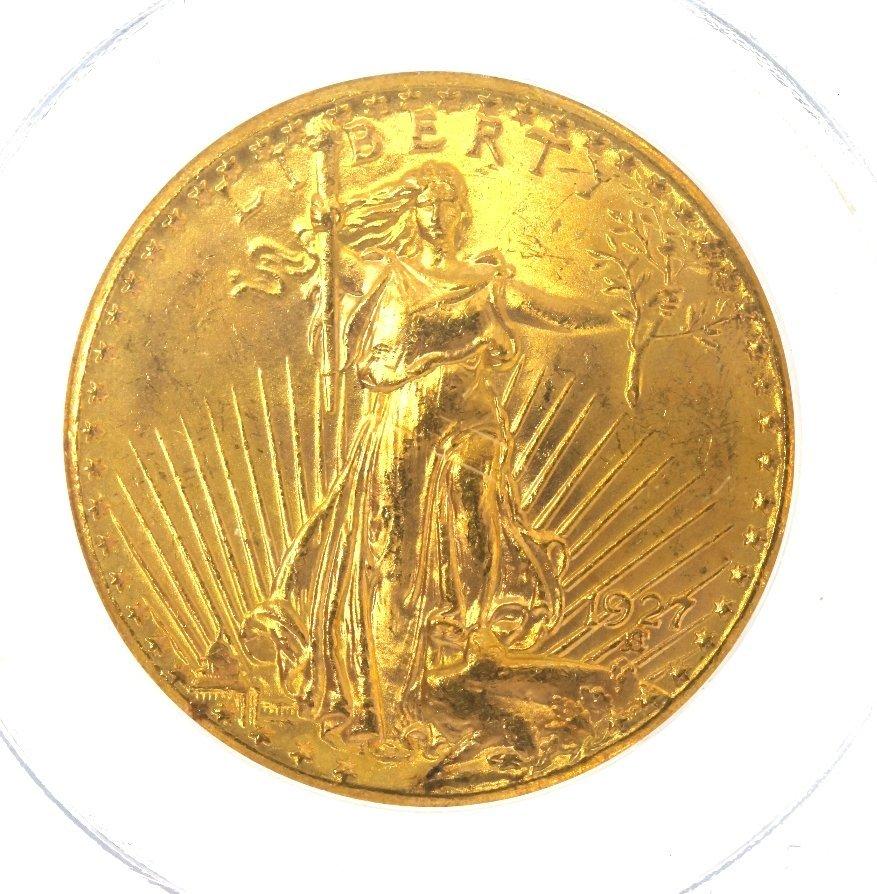 1927 $20 PCGS MS65 Saint Gaudens Double Eagle Gold Coin - 3
