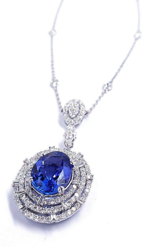 18KT White Gold 7.12ct Tanzanite & Diamond Necklace FJM