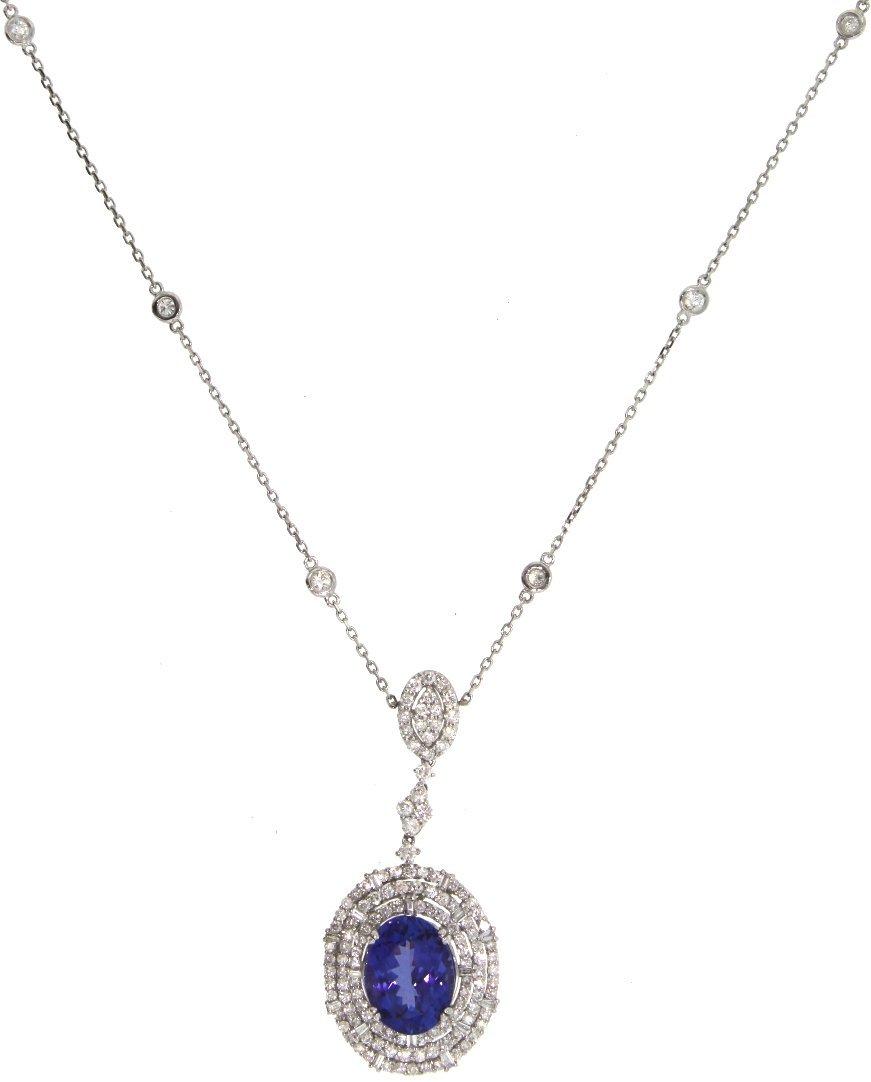 18KT White Gold 7.12ct Tanzanite & Diamond Necklace FJM - 2