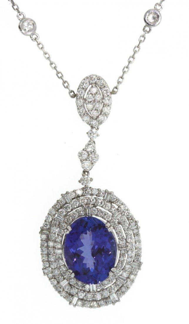 18KT White Gold 7.12ct Tanzanite & Diamond Necklace FJM - 3