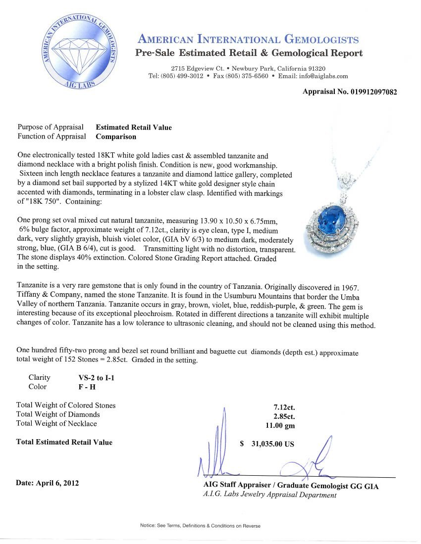 18KT White Gold 7.12ct Tanzanite & Diamond Necklace FJM - 4