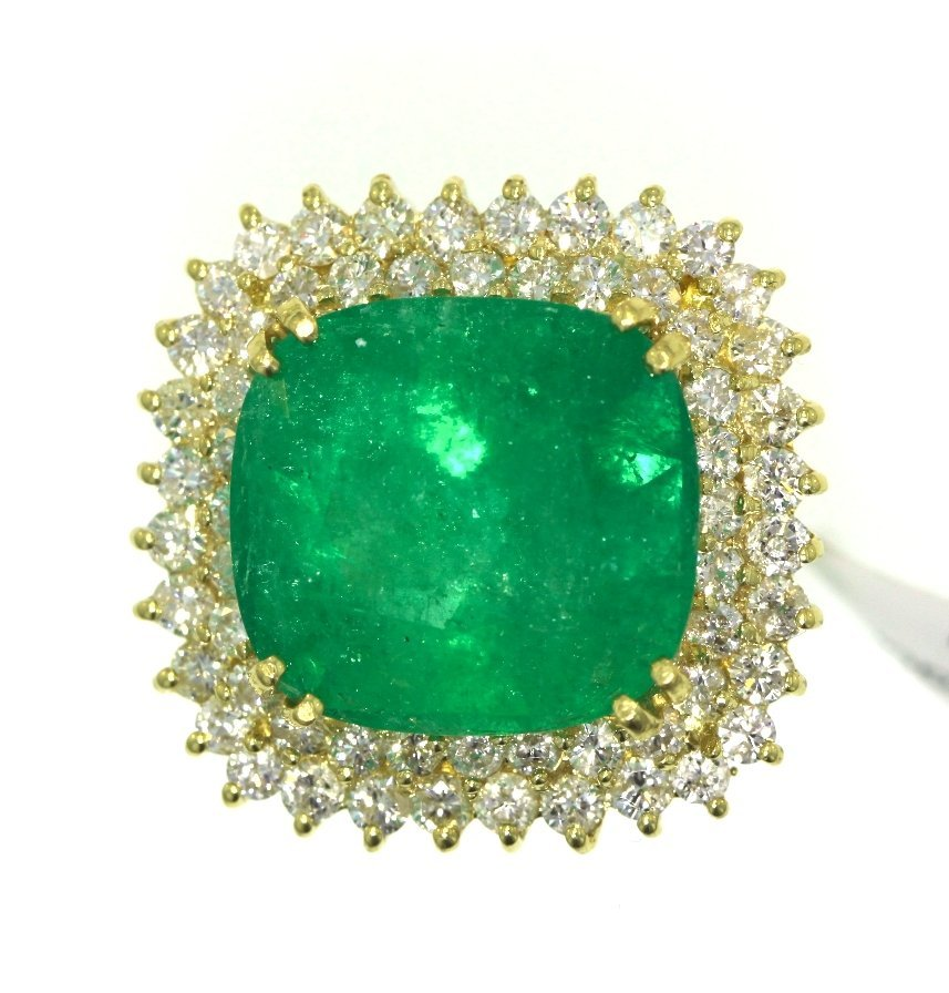 18KT Yellow Gold 16.00ct Emerald & Diamond Ring A3935 - 2