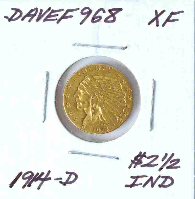 1914-D $2 1/2 XF Indian Head Quarter Eagle Gold Coin Da