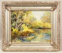 Original Oil Painting Late Fall Reflections by D Bot