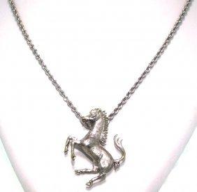 Platinum Ferrari Horse Pendant On White Gold Chain GB54