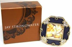 Jay Strongwater Blue Enamel & Swarovski Crystal Frame N